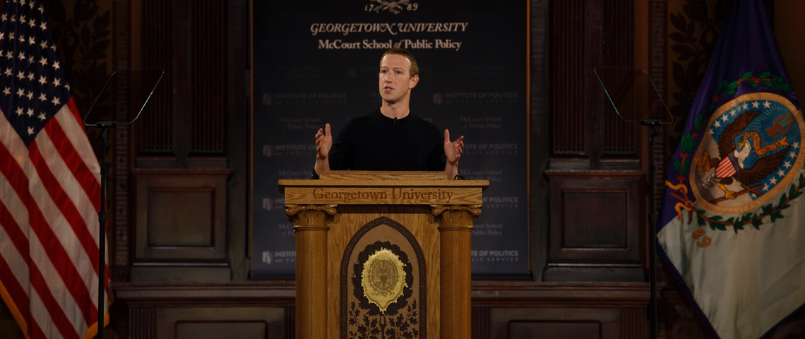 Mark Zuckerberg lors de son discours jeudi 17 octobre 2019