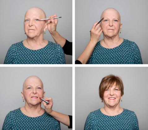Etapes de maquillage d'une femme atteinte du cancer