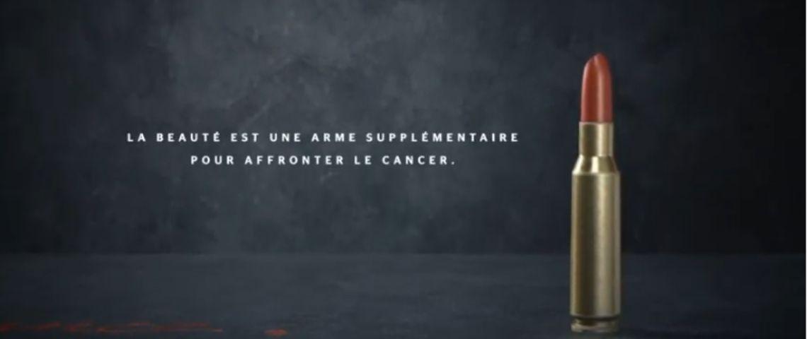 Capture d'acran avec le message : la beauté est une arme supplémentaire pour affronter le cancer