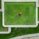 Un homme allongé sur le toit d'un immeuble recouvert de pelouse
