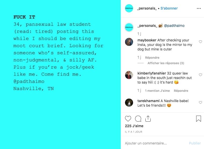 Une petite annonce amoureuse sur Instagram