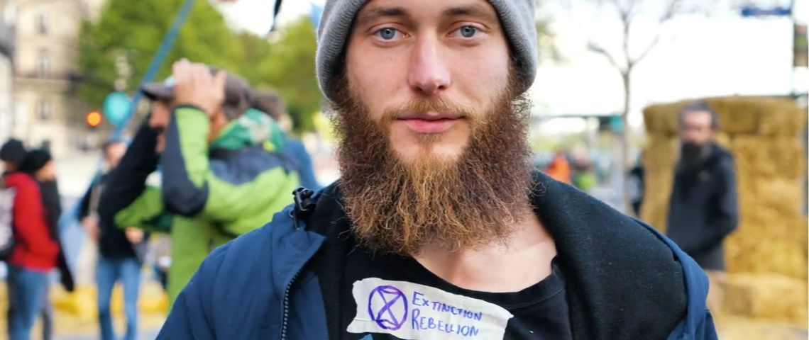 Un militant d'extinction rebellion
