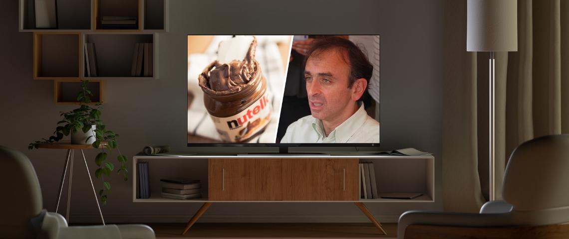 Un écran de télévision coupé en deux, présentant d'un côté un pot de nutella, de l'autre Éric Zemmour