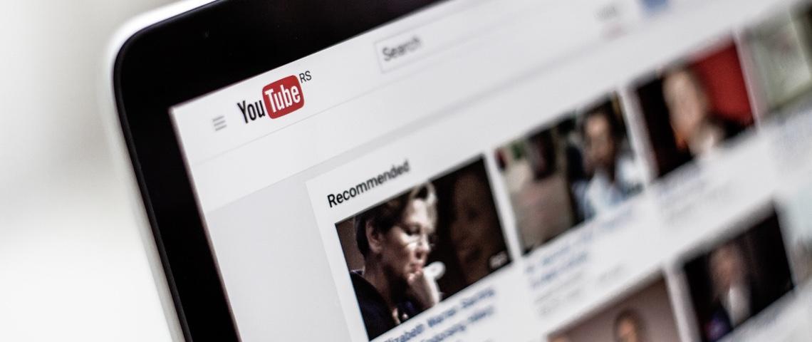 Page d'accueil de YouTube avec rubrique