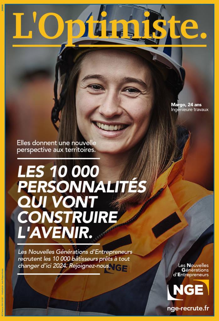 """Couverture du """"faux"""" magazine l'optimiste crée pour la campagen de recrutement NGE"""