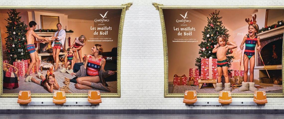 Visuel de la campagne de BBD Paris et Center Parcs : #NoëlEnMaillot