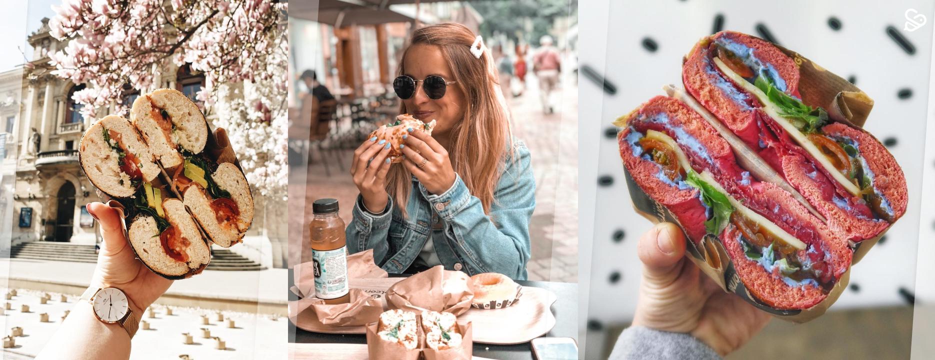 3 femmes mangent un bagel