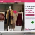 """Capture d'écran de la campagne Emmaus : presentant un vêtement avec la mention """"Existe aussi en version recyclée et solidaire"""""""