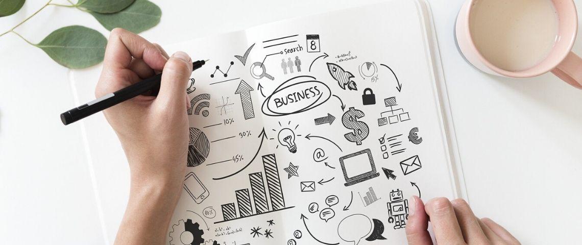Shema d'un business plan au crayon à papier