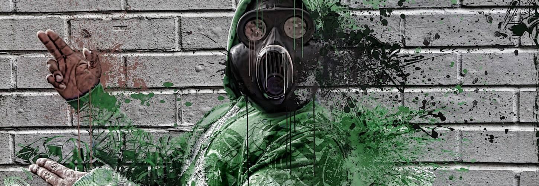 graffiti d'un homme se désagrégent et portant un masque à gat