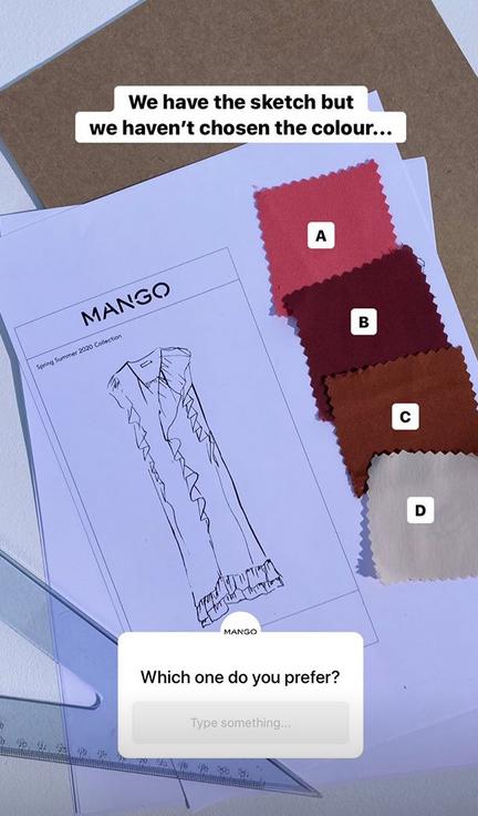 Capture d'écrtan site Instagram, où la marque propose 4 coloris à ses followers pour une robe à volants