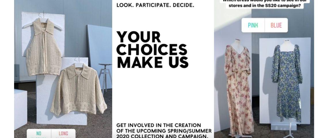 Capture d'écran de 2 robes et 2 pulls pour lesquels Mango consulte se followers