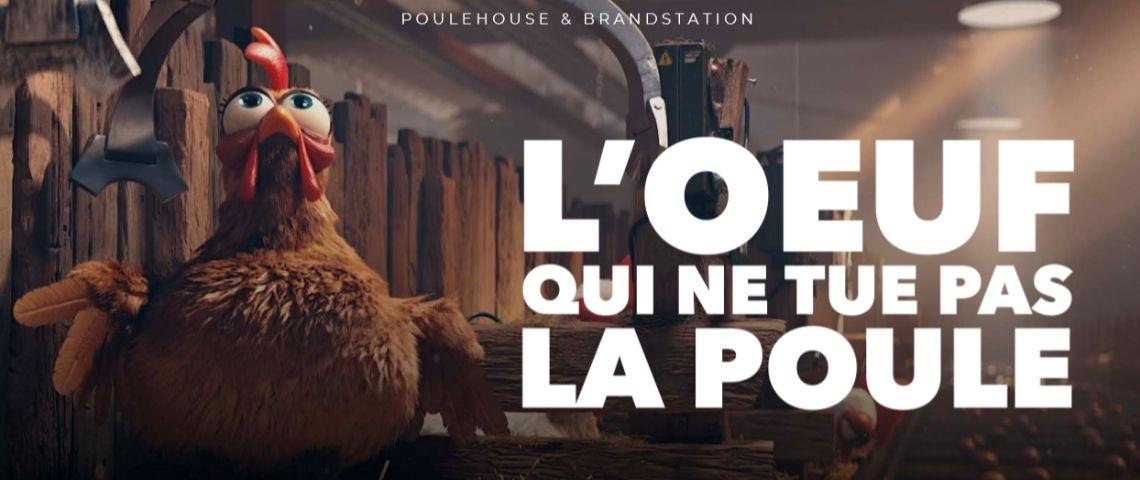 Capture d'écran du film de Poulehouse avec un poulailler et la mention : Poulehouse, l'oeuf qui ne tue pas la poule