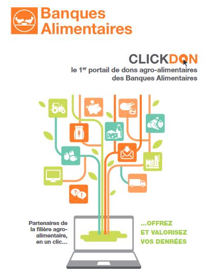Visuel qui explique la fonctionnement de la plateforme ClickDon des banques alimentaires