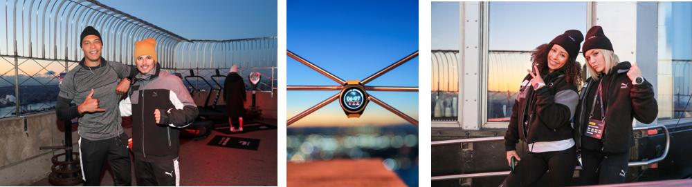 Triptyque de photos de la soirée de lancement de la montre connectée de Puma - 2 duos de chaque coté, à gauche 2 hommes et à droite 2 femmes et au centre la montre connectée