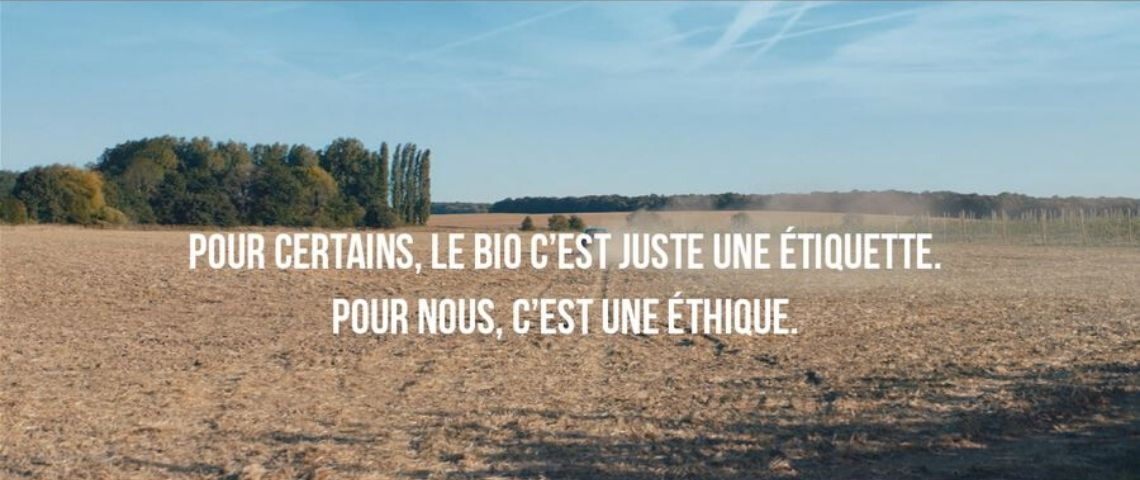Slogan de Synadis : Pour certains le bio c'est juste une etiquette. Pour nous c'est une éthique