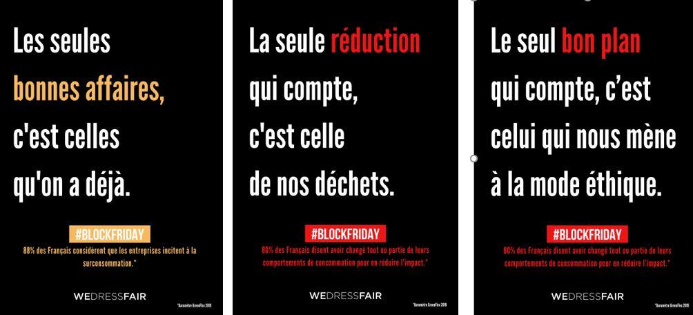 Triptyque de la campagne Block Friday : 1-Les seules bonnes affaires, c'est celles qu'on a déjà, 2-La seule réduction qui compte, c'est celle de nos déchets, 3-Le seul bon plan qui compte, c'est celui qui nous mène à la mode éthique celles qu'on a déjà