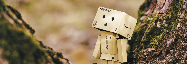 Petit bonhomme dans le creux d'un arbre réalisé avec des cartons Amazon
