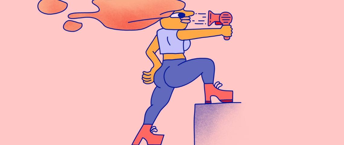 un dessin d'une femme se séchant les cheveux