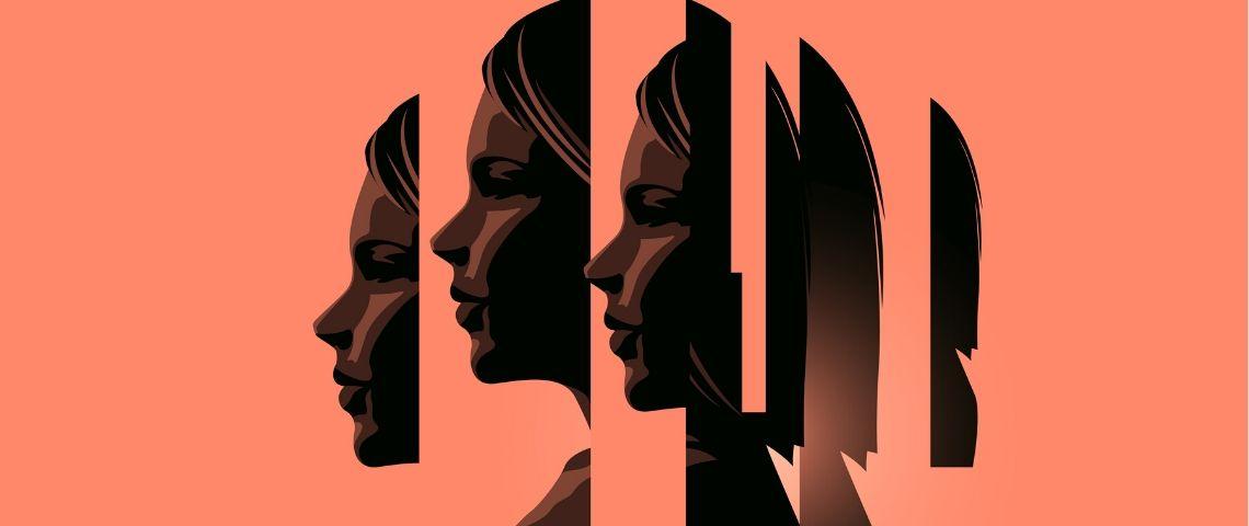 Illustration du visage d'une femme découpée en plusieurs morceaux sur fond orange