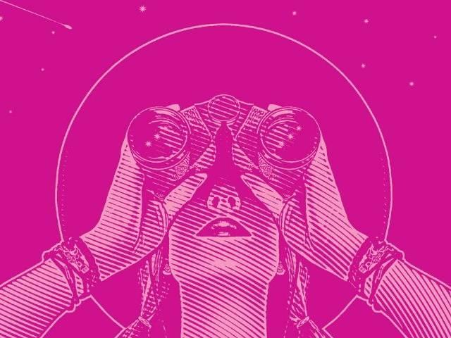 Dessin d'une femme qui regarde les étoiles à travers des jumelles