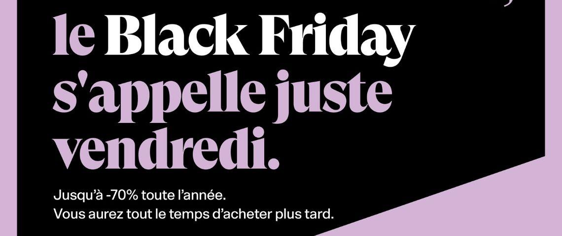 Slogan Back Market : Le black friday s'appelle juste vendredi