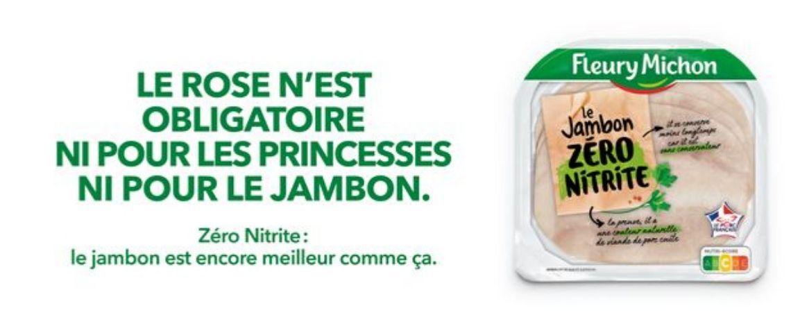 Visuel d'une barquette de jambon avec la mention : Le rose n'est obligatoire ni pour les princesses ni pour le jambon
