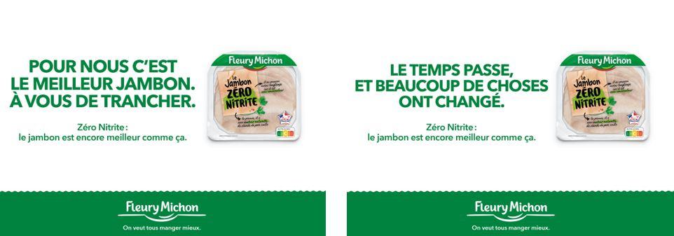 Capture de la campagne de Fleury Michon en faveur du zéro nitrite avec 2 slogans : 1-Pour nous c'est le meilleur jambon. A vous de trancher. 2- Le temps passe et beaucoup de choses ont changé.