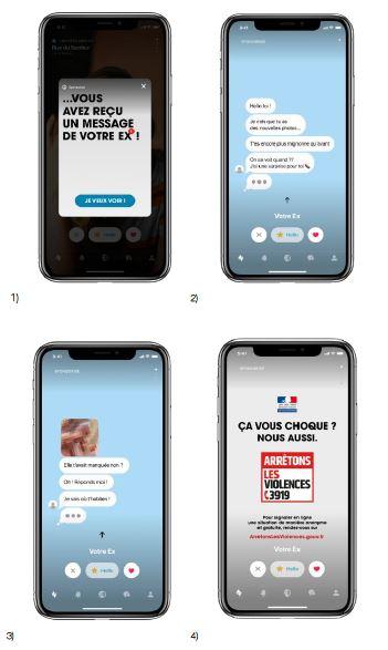 Capture d'écran de la campagne contre le cyber harcelement du gouvernement et happn