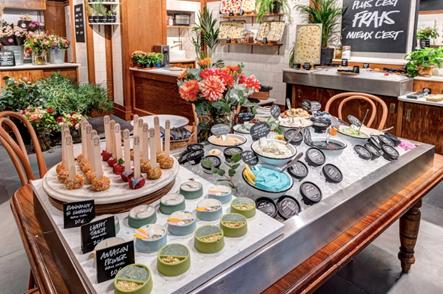 Table garnie de produits frais