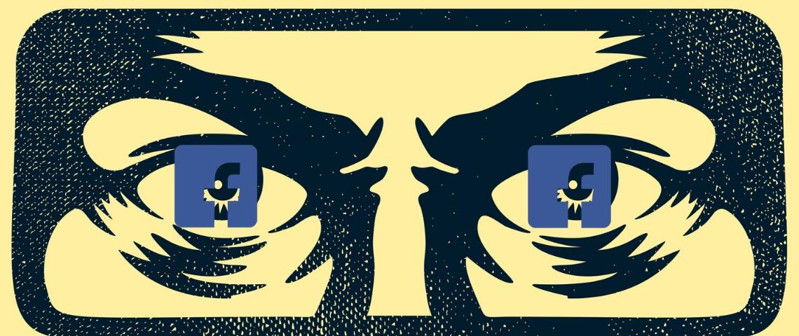 le visage de big brother avec le logo de Facebook dans les yeux.