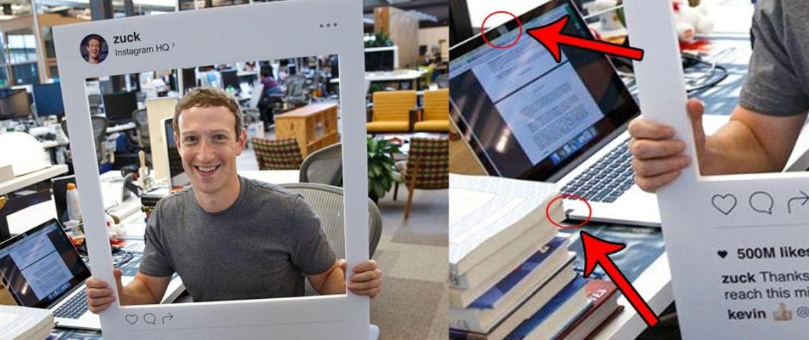 une image montrant des post-it devant la webcam et le micro de l'ordinateur du fondateur de Facebook.