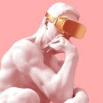 Une statue classique portant un masque de réalité virtuelle