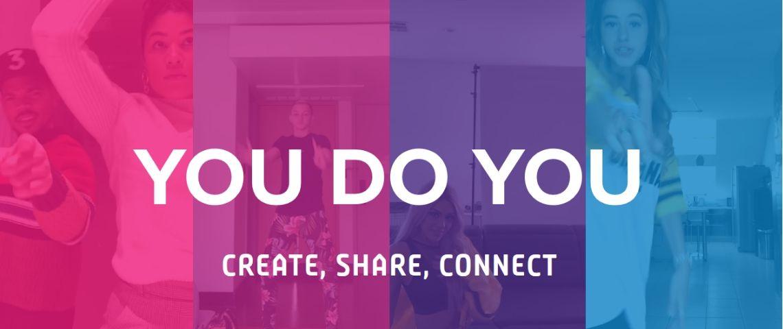 Capture d'écran de la page d'accueil de Triller, avec le slogan : You do You - Create, share, connect
