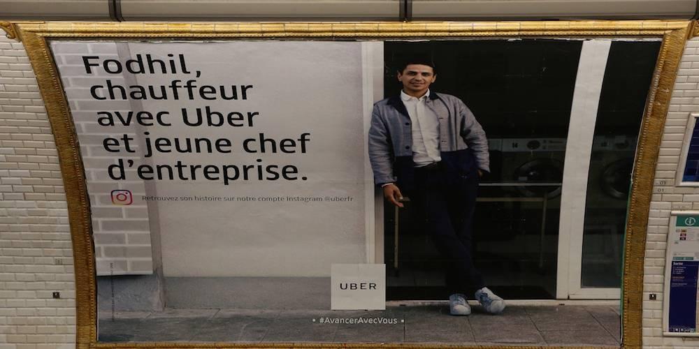 Une publicité Uber en 2018