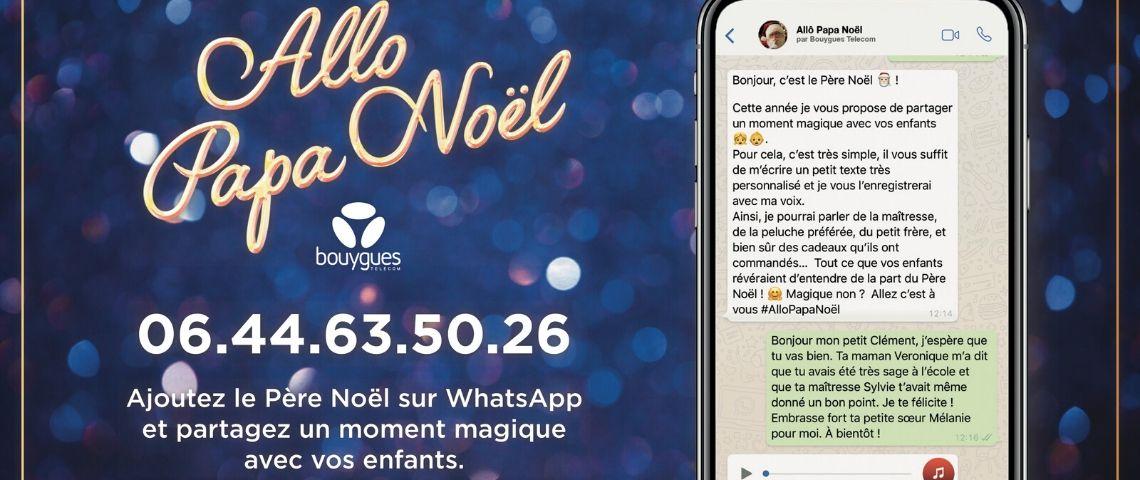 Capture d'écran d'un échange sur Whatsapp, entre un enfant et le Père Noël