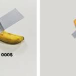 Photo du pastiche de Burger King qui trolle la banane de Maurizio Cattelan. A gauche la banane de l'artiste au prix de 120 000 dollars. A droite, une frite de Burger King à 0.01 dollars