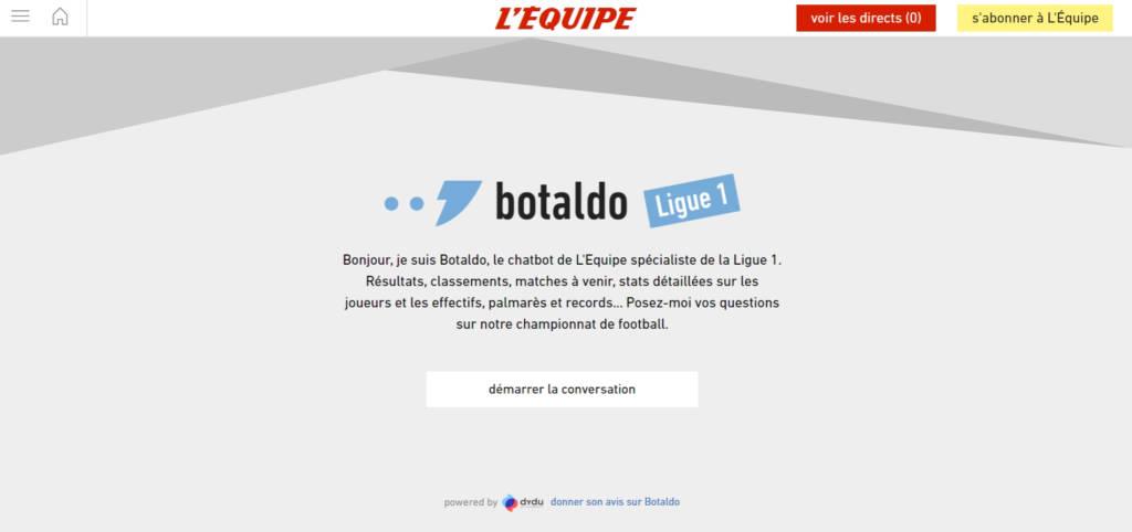Capture d'écran du Chatbot Botaldo