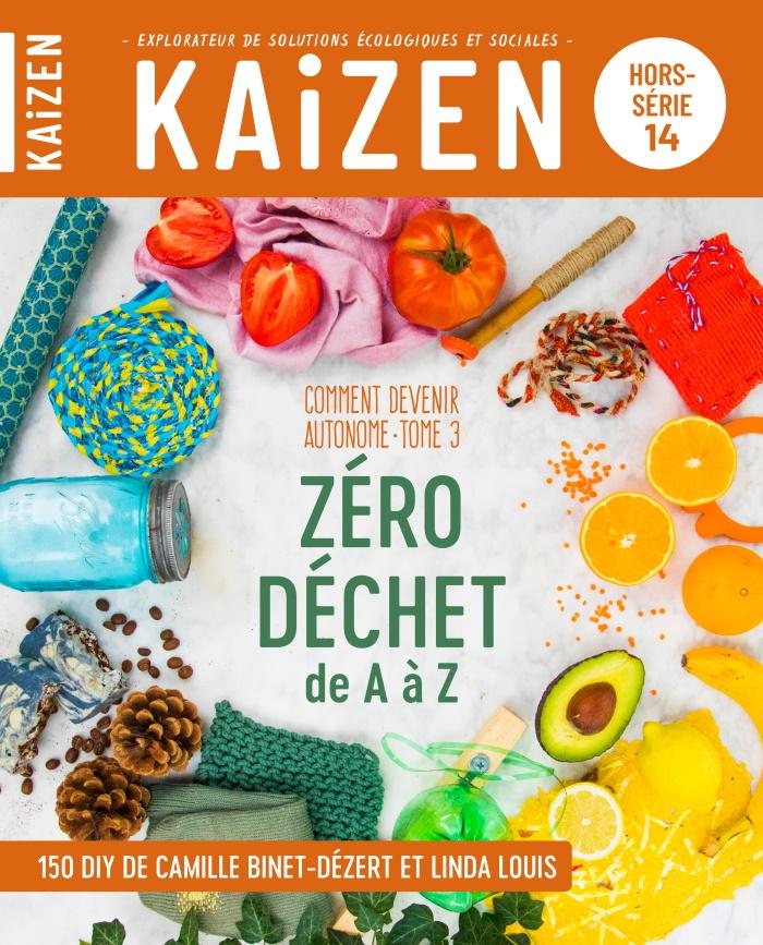 Couverture du hors série Kaizen avec une ronde de fruits, légumes et céréales et au centre le titre Zéro Déchet de A à Z