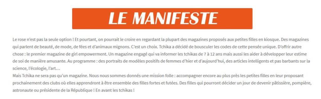 Manifeste du magazine féministe Tchika pour les petites filles