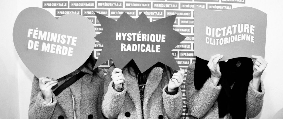 Capture d'écran des messages de la boutique Mauvaise Compagnie : Hystérique radicale, féministe de merde, dictature clitoridienne