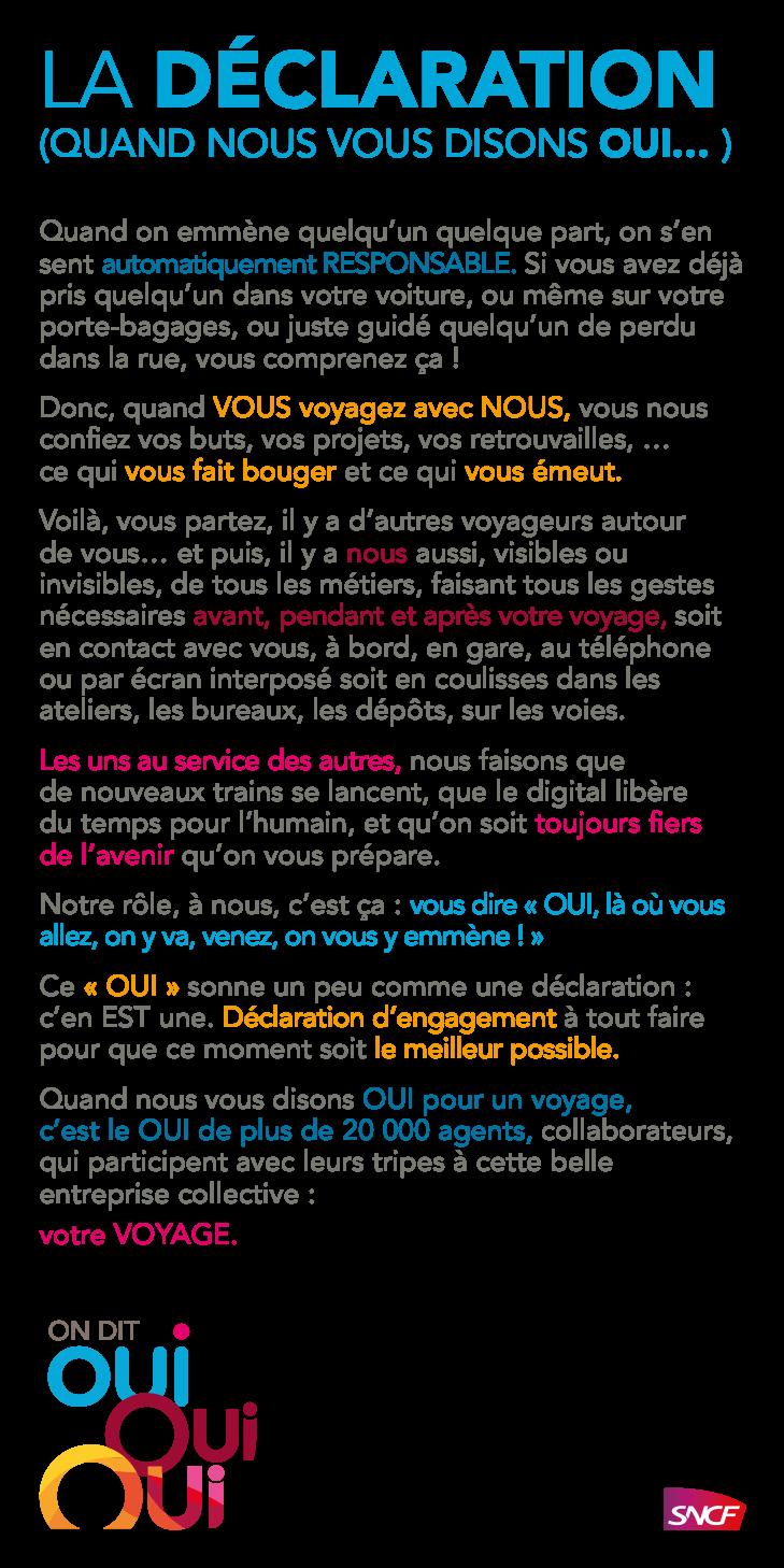 Texte de Oui SNCF