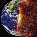Planète, divisée en 2 parties, avec d'un côté la planète bleur et de l'autre la planète qui part en feu