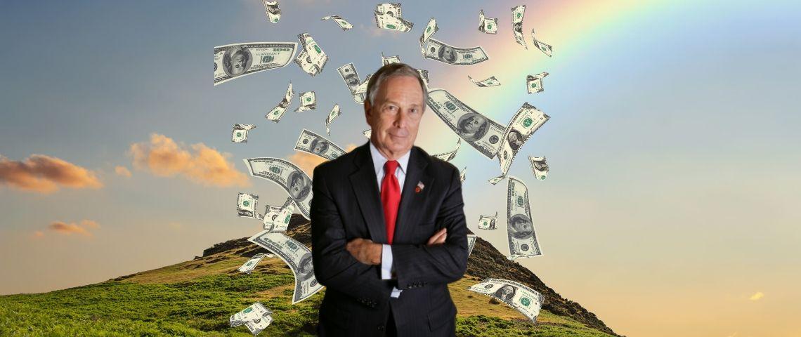 Une photo de Michael Bloomberg avec des billets de banque devant une montagne et un arc-en-ciel