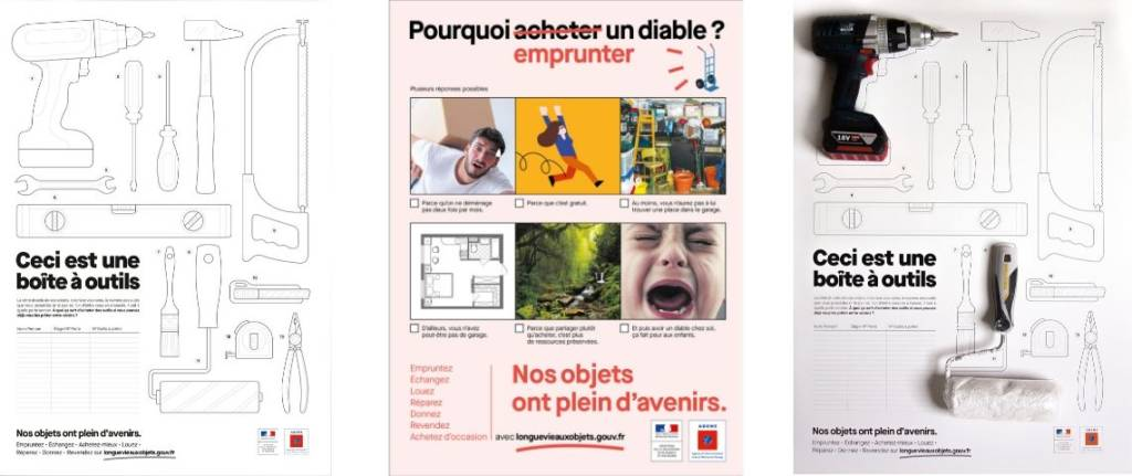 Tryptique des posters de la campagne de L'ADEME