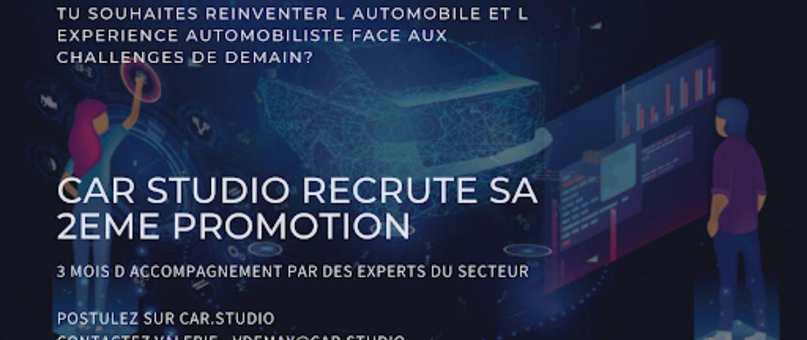 flyer annoncant le recrutement de la 2ème promotion de CarStudio