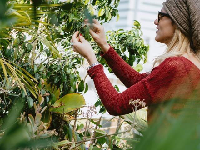Une jeune femme en train de pratiquer l'agriculture urbaine