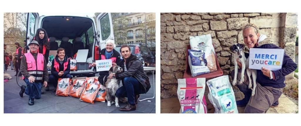 photo de responsable de refuges avec leur animaux et des sacs de croquettes, avec une pancarte, Merci Youcare
