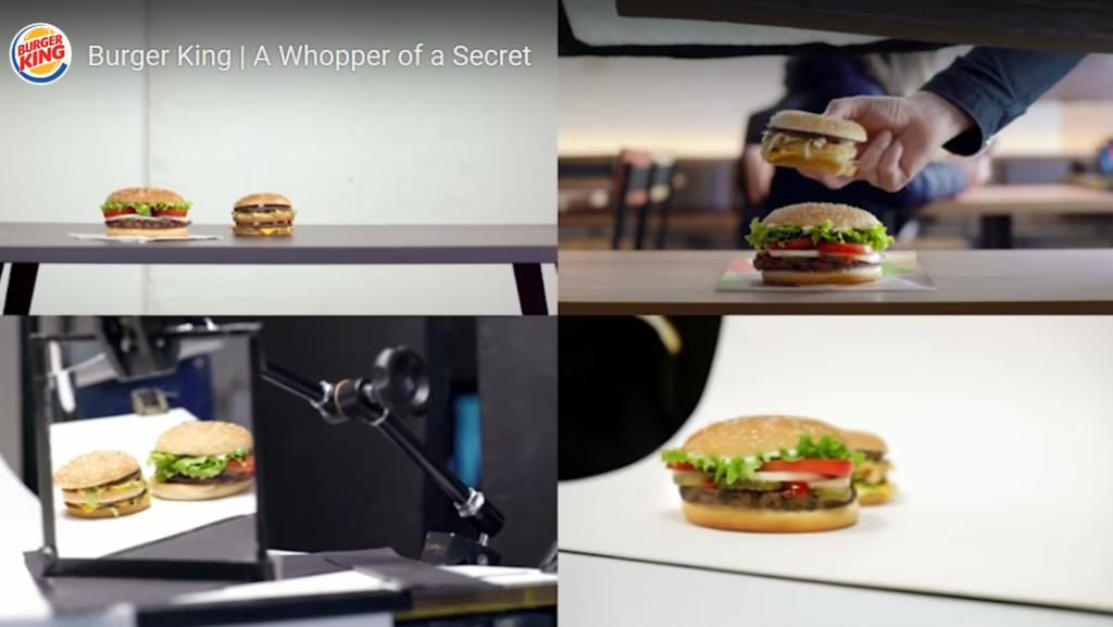 Capture d'écran de la vidéo montrant les Big Mac derrière les Whopper