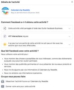 Screenshot de paramètres sur Facebook